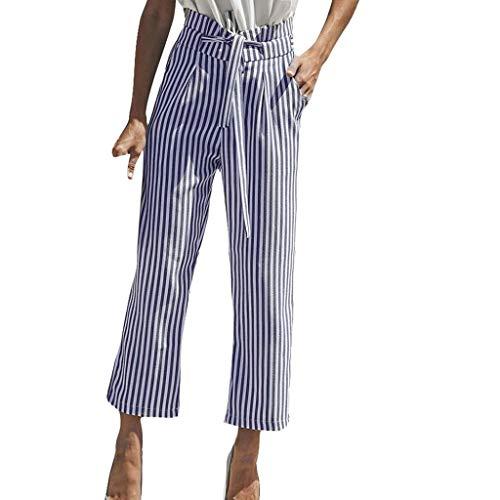- 〓COOlCCI〓Women's Pants,Women's Stripe Flowy Wide Leg High Waist Belted Casual Pants,Waist Cropped Pants with Pockets Blue