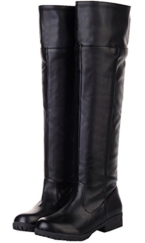 [Adult Men's Cos-play Knee-high Boot Riding Boots (10.5)] (Mens Black Knee High Boots)
