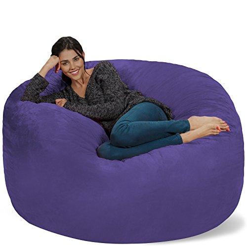 Chill Sack Bean Bag Chair: Giant 5' Memory Foam Furniture Bean Bag - Big Sofa with Soft Micro Fiber Cover - Purple