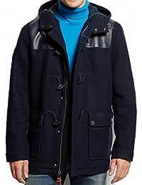 Navy Mens Pleather Trim Duffel Toggle Coat