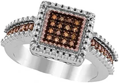 Sterling Silver & Rose Tone Brandy Diamond Chocolate Brown Princess Fine Design Ring 1/6 Cttw