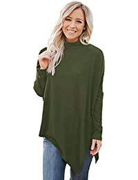 Women Soft Faux Poncho High Neck Sweater Batwing Sleeve Casual Pullover Tops