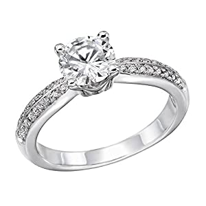 IGI Certified 14k white-gold Round Cut Diamond Engagement Ring (0.74 cttw, K Color, VS1 Clarity) - size 4.5