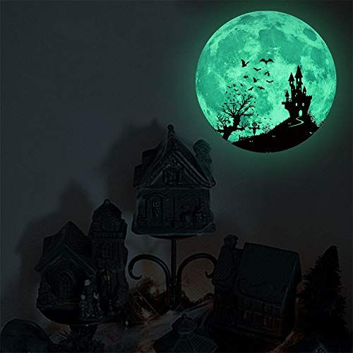 Lessonmart Halloween Theme Wall Stickers Removable Luminous Moon Removable Wall Sticker Home Halloween Decoration Decals