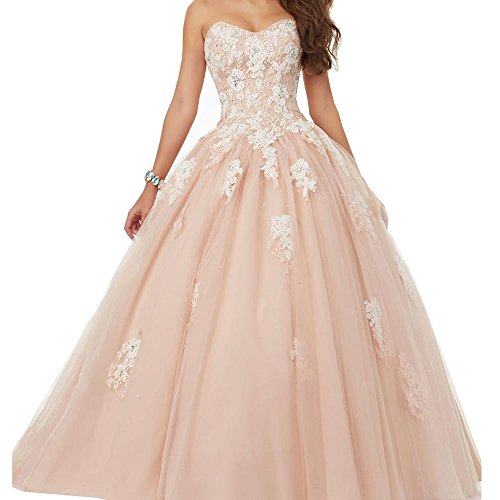 YORFORMALS Women's Strapless Evening Ball Gown Sweetheart Prom Dresses Long Size 14 Blush by Yorformals
