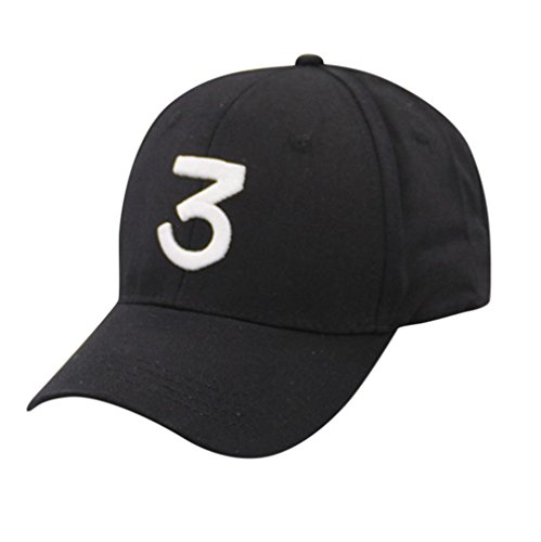 Challyhope Clearance! Unisex Vintage Lucky Number 3 Twill Cotton Baseball Cap Adjustable Dad Hat Hip Hop Duck Caps (Black)
