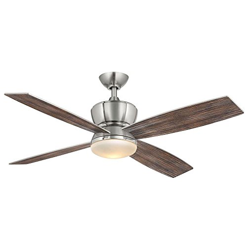 - Hampton Bay 42nd Street 52 in. Indoor Brushed Nickel/Polished Nickel Ceiling Fan with Light Kit and Remote Control