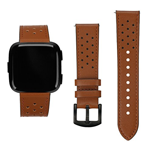 Wireless Solutions Leather Clip (Fitbit Versa Replacement Leather Straps Bands with Nice Points,Accessories Wristbands for Fitbit Versa Fitness Smart Watch (Brown Leather Black Point))