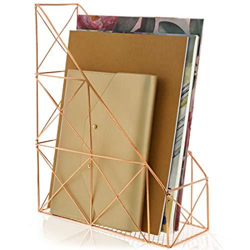 Juvale Metal Wire Magazine Document Holder Rack, Rose Gold
