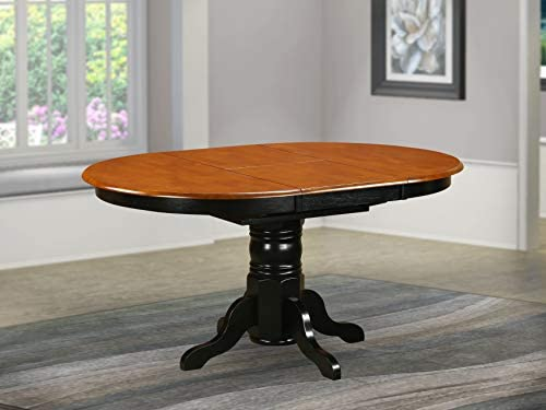 picture of East West Furniture AVT-BLK-TP Butterfly leaf Oval Table