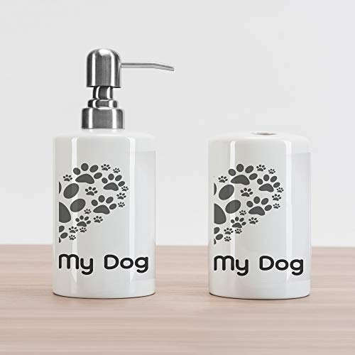 Lunarable Dog Lover Soap Dispenser and Toothbrush Holder Set, I Love Dog Typography Typescript Text Heart Shaped Monochromic Artwork Veterinary, Ceramic Bathroom Accessories, 4.5