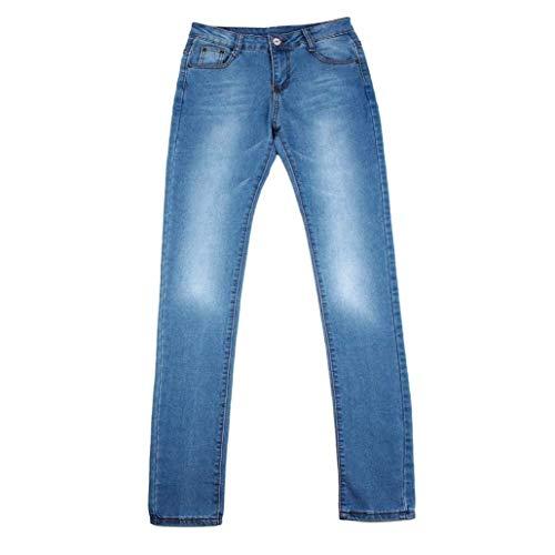Pitillo Alta Pantalones Al Pierna Estiramiento Cintura De Botón Recta Mujer Libre Bolsillos Casuales Delgados Aire Delanteros Mujeres Blau Mezclilla Vaqueros Fpwqp0t
