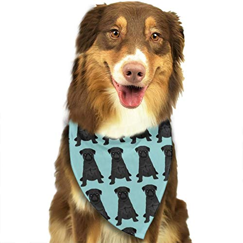 ROCKSKY Dog Bandanas, Soft Triangle Birthday Bandana Scarves Pet Scarf for Medium to Large Sized Dogs - Pet Kerchief Hankie for Birthday Party, Wedding, Black Pug Mint