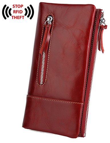 BIG SALE- 30% OFF- YALUXE Women's RFID Blocking Ultra Soft Leather Wallet with Coin Pocket Red