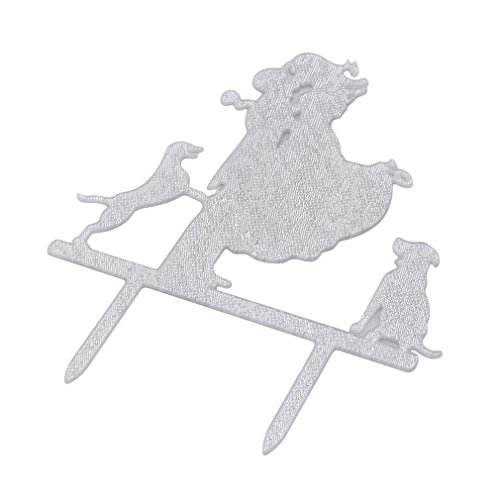 Dolland Wedding Cake Topper-Love Her Love Her Dogs Silhouette Wedding Engagement Cake Decoration Topper,Silver by Dolland (Image #2)