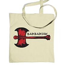 Red Barbarian Axe Tote Bag - Gaming Gamer Geek Bag - Natural One Size Tote Bag