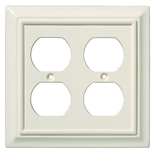 Brainerd 126376 Wood Architectural Double Duplex Outlet Wall Plate/Switch Plate/Cover, Light Almond