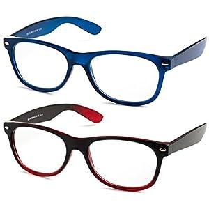 Specs Wayfarer Reading Glasses (Matte Blue and Black/ Red Gradient) +1.75 2-Pack