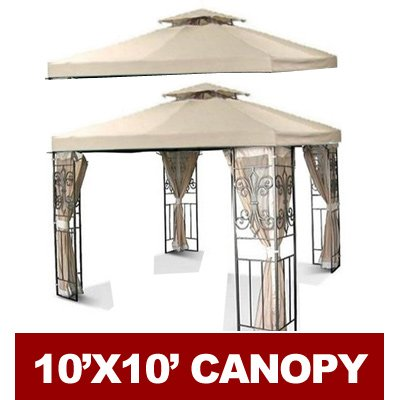 10' X 10' Gazebo Replacement Canopy Top Cover - Beige, Double-teir