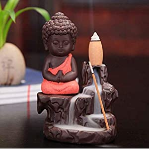 CraftJunction Meditating Monk Buddha Smoke Backflow Cone Incense Decorative Showpiece with 10 Smoke Backflow Cone…