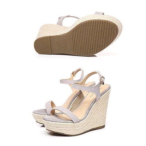 Spitze Offene Farbe Größe Schuhe 12cm Sommer Erstaunliche 5 Wedges Weibliche CN37 UK4 Sandalen Plattform Grau Strass Schuhe EU37 Wasserdichte 5 Grau 7xzw6CCq8