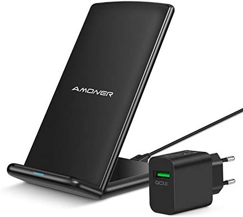 Amoner Fast Wireless Charger,10W kabelloses Ladegerät mit Quick Adapter Induktive Ladestation Schnellladestation für iPhone XS/XS Max/XR/X/ 8/8 Plus,Samsung Galaxy S10 S9+ S8 Plus Note 9 usw.