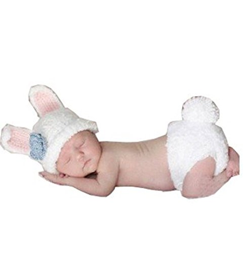 Rush Dance Photography Prop Blue Easter Bunny Rabbit Crochet Costume Hat &Diaper (Crochet Newborn Bunny Hat And Diaper Cover)