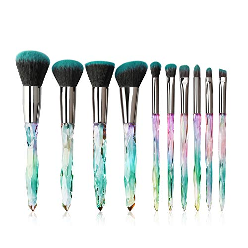 Makeup Brushes Crystal Handle Set, Tenmon 10 PCS Crystal Transparent Handle Kabuki Powder Foundation Brush Concealer Eye Shadow Eyeliner Eyebrow Brush (Green)