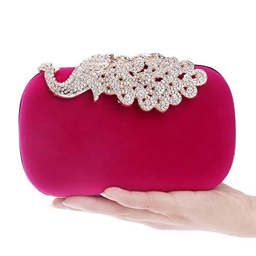 Femmes Red Main Diamant Velours De Clutch Bal Sac Mariage Sac Suède à Soirée Pochette Paon Fête rUFrAqZPw