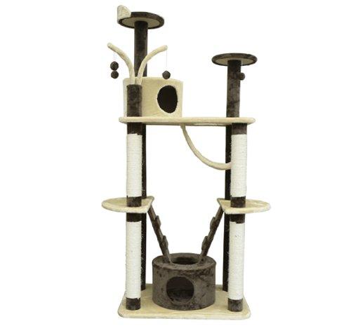 Pawhut 71″ Coffee / Cream Cat Tree Condo Pet Scratcher Furniture, My Pet Supplies