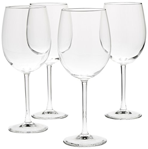 AmazonBasics All-Purpose Wine Glasses, 19-Ounce, Set of 4 (Best Red Wine Brands In Usa)