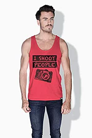 Creo I Shoot People Funny Tanks Tops For Men - S, Pink