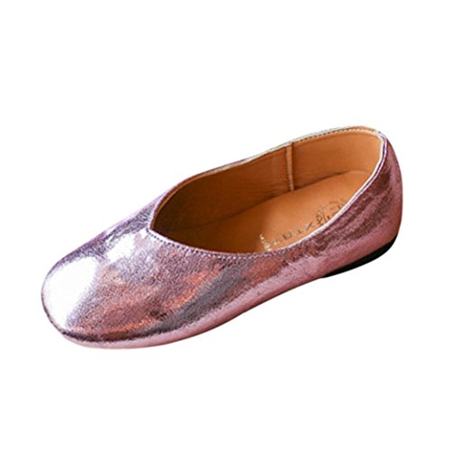 Kintaz Kids Girls Bowknot Genuine Leather Cute Soft Dressy Mary Jane Flats shoes (Hot pink, Age:4.5-5T)