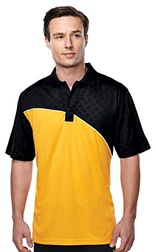 Tri-mountain Mens S/S Golf Shirt - GOLD/BLACK/WHITE - XX-Large
