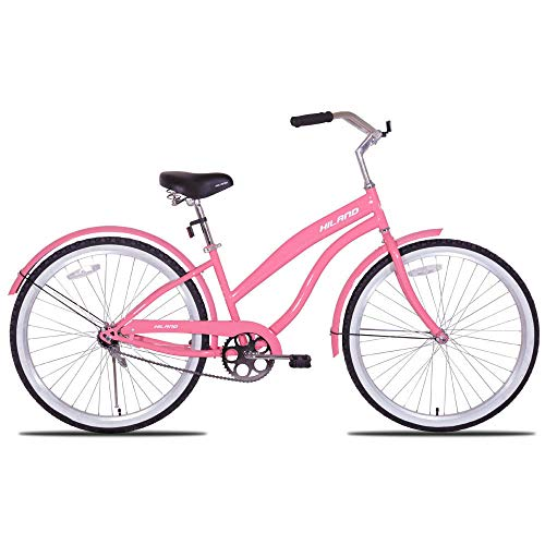 Hiland Women's Beach Cruiser Bike with Wide Seat, 26'' Inch Cruiser Bicycle for Women & Girls,Urban Lady Comfort Commuter Bikes,Pink