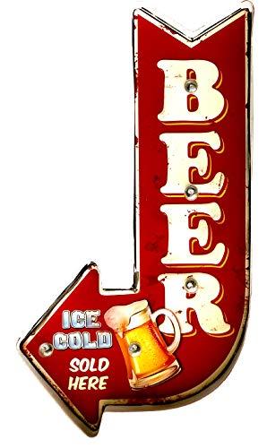 DiiliHiiri Cartel Retro Luminoso Cerveza Bar Vintage Letrero Metálico Artesania Accesorios Decoración Hogar (Ice Cold…