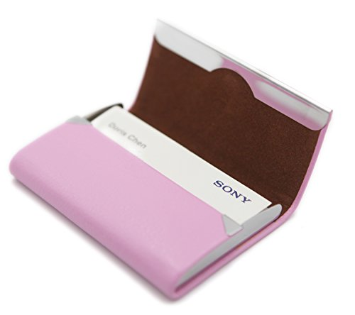RFID Blocking Card Holder - Leather Card Case and Front Pocket Wallet with Magnetic Shut - Pink