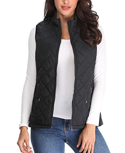 Waistcoat Ladies Stand Collar Jackets Pockets Zip Quilted Lightweight Women Up Coat Gilets Padded Black Puffer Sleeveless Vest FFwHdqxr
