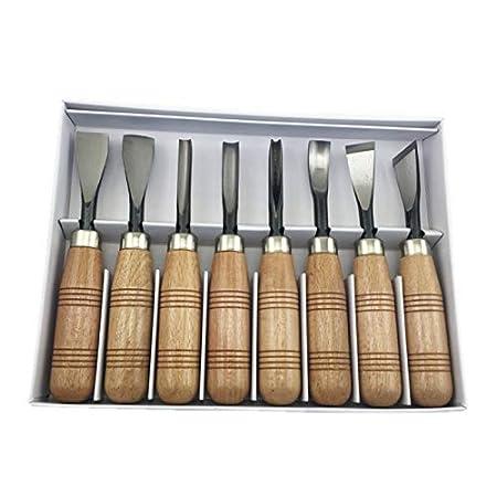 Juego de cuchillos de cincel para mano de madera tallada a ...