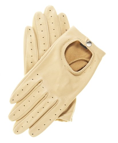 Pratt and Hart Women's Deerskin Leather Driving Gloves Size L Color Tan
