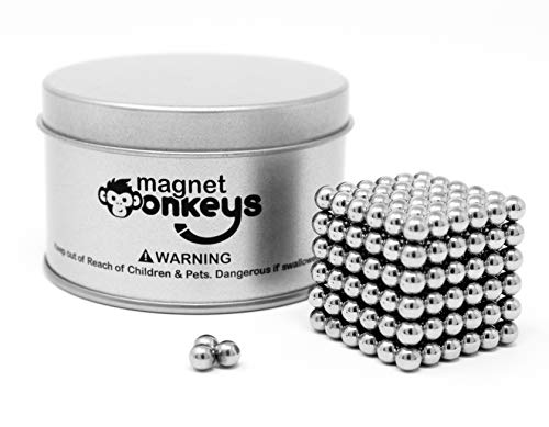 Magnetic Balls Magnet Building Cube - Fun and Educational Sculpture Toys for Kids (Ages 14 and up) - Great Fidget Toy to Keep Your Hands Busy - 216 Ball Magnets, 5mm, Silver