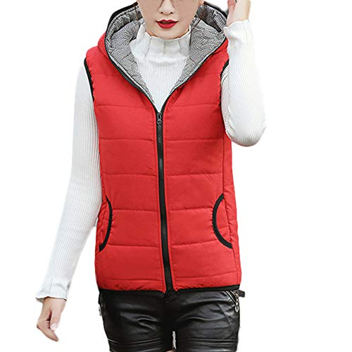 Creazrise Women's Slim Sleeveless Quilted Removable Hooded Winter Puffer Vest Coat (Pink,2XL) from Creazrise Womens Coat