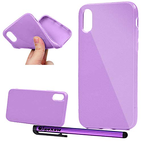 - iPhone X/XS Case, Qiyuxow Soft Slim Fit Glossy [Jelly Series] Rubber TPU Gel Case Protective Cover Skin for Apple iPhone X 2017 & iPhone Xs 2018 (Light Purple)