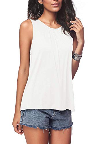 Bloggerlove Ladies Pleated Front Shirts Back Closure Casual Tank Tops White M