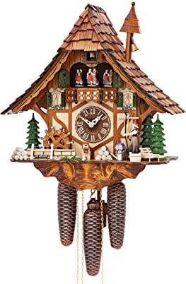 German Cuckoo Clock 8-day-movement Chalet-Style 16.00 inch – Authentic black forest cuckoo clock by Hekas
