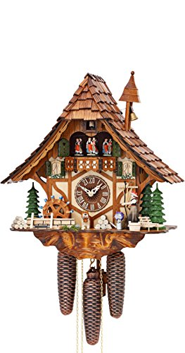 German Cuckoo Clock 8-day-movement Chalet-Style 16.00 inch - Authentic black forest cuckoo clock by Hekas