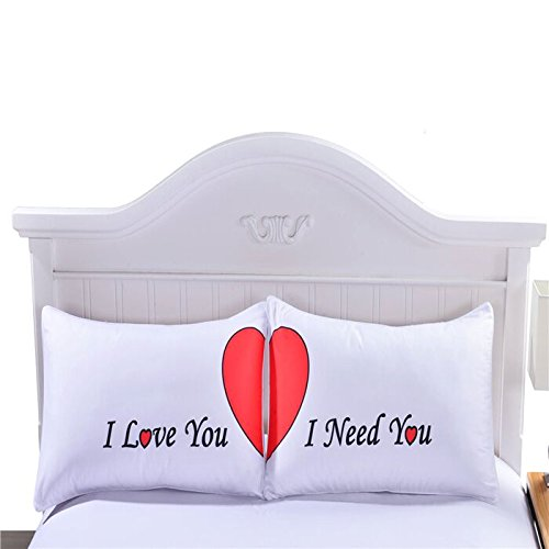 Sleepwish I Love You I Need You Couple Pillowcases Set of 2 Couple Pillow Cases Romantic Wedding Valentine's Gift for Him or Her 50x75cm (Valentines Gift Set)