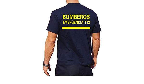 T-Shirt/Camiseta (Navy/Azul) Bomberos Emergencia 112, Fuente Amarilla, Bandera española: Amazon.es: Ropa y accesorios