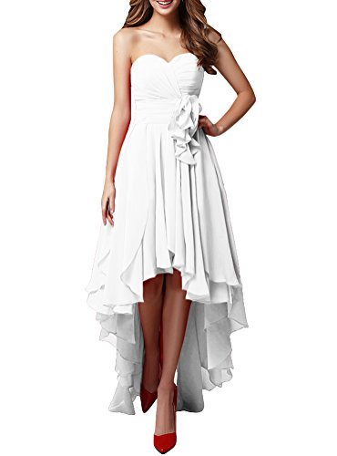 LOVEBEAUTY Women's Chiffon Sweetheart Hi-Lo Bridesmaid Dresses Evening Party Prom Gown White US 18