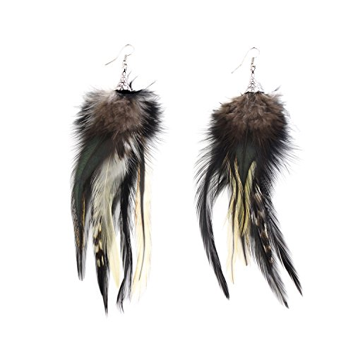 KISSPAT Blue Handmade Natural Feather Dangling Earrings (Gray)